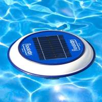 Floatron unit uses solar power to keep your pool crystal clear with a reduction in chemicals